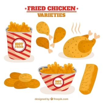 Coleção de frango frito apetitoso