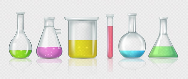 Coleção de frascos de laboratório