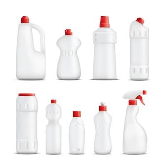 Coleção de frascos de produtos de limpeza