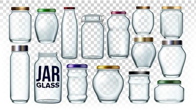 Coleção de frascos de vidro em conjunto de forma diferente