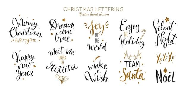 Coleção de frases de caligrafia e letras de natal e ano novo
