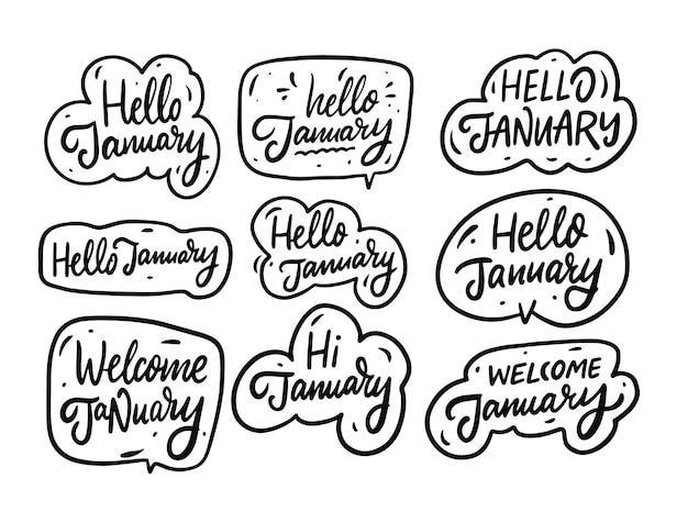 Coleção de frases de olá janeiro