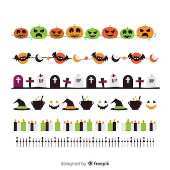 Coleção de fronteira de halloween colorida plana