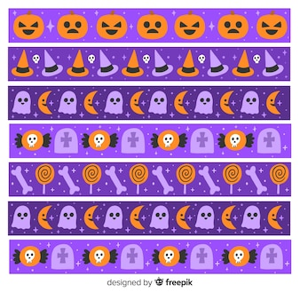 Coleção de fronteira de halloween com abóboras e fantasmas