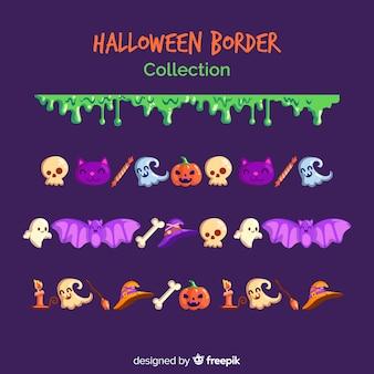 Coleção de fronteira de halloween em design plano