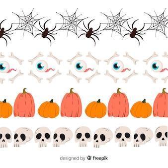Coleção de fronteira para o halloween com aranhas e caveiras