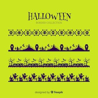 Coleção de fronteira plana halloween em fundo verde
