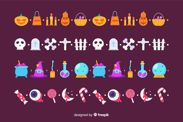 Coleção de fronteira plana halloween no fundo violeta