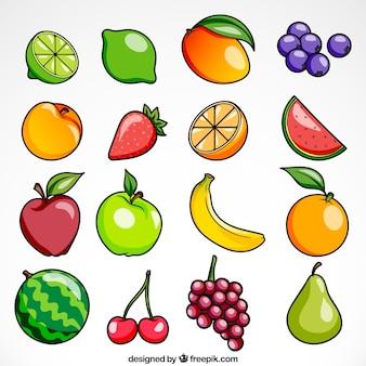 Coleção de frutas brilhantes