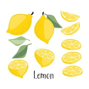 Coleção de frutas de limão.