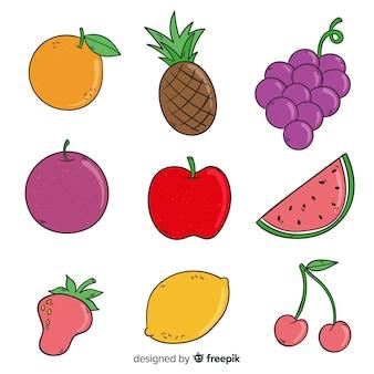Coleção de frutas de mão desenhada