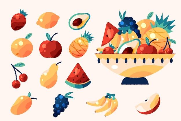 Coleção de frutas deliciosas desenhada à mão