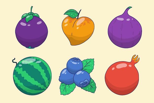 Coleção de frutas deliciosas desenhadas à mão