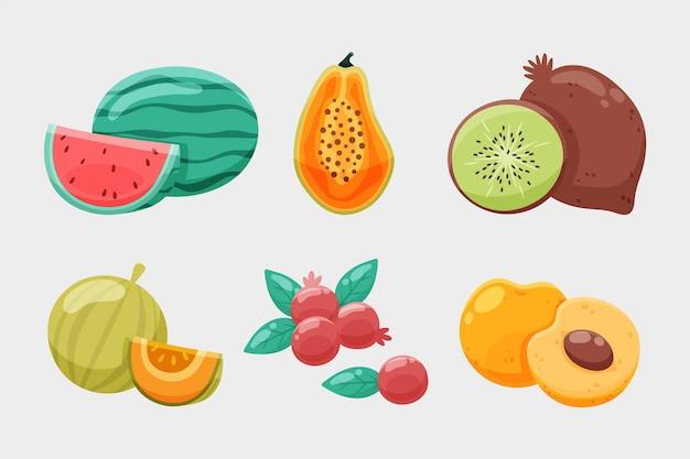 Coleção de frutas desenhada à mão