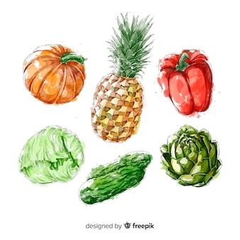 Coleção de frutas e legumes em aquarela