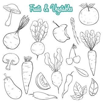 Coleção de frutas e legumes frescos desenhados à mão