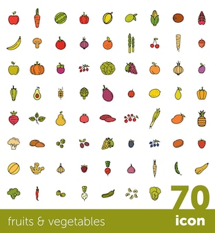 Coleção de frutas e legumes.
