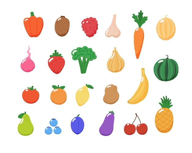 Coleção de frutas e vegetais.