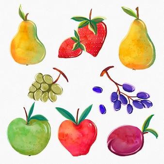 Coleção de frutas em aquarela pintada à mão