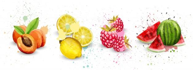 Coleção de frutas em aquarela