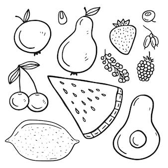 Coleção de frutas em estilo doodle.