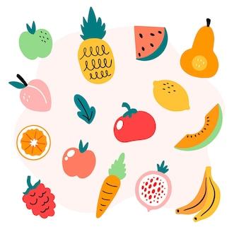 Coleção de frutas frescas desenhada à mão