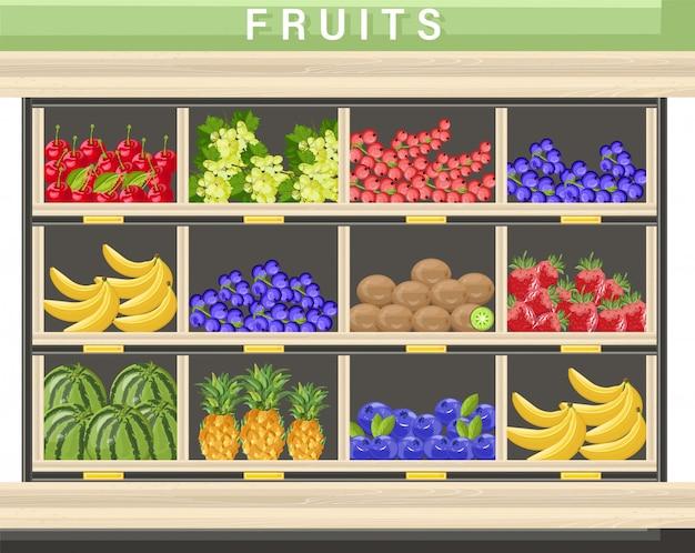 Coleção de frutas frescas fazenda