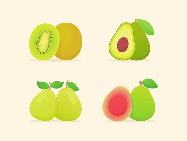 Coleção de frutas isoladas em bege