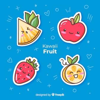 Coleção de frutas mão desenhada kawaii