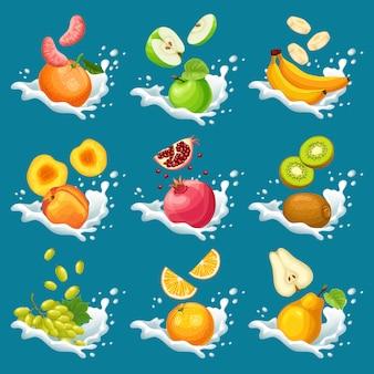 Coleção de frutas naturais em salpicos de leite