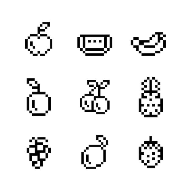Coleção de frutas pixeladas mistas