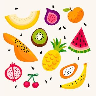 Coleção de frutas saborosas desenhada à mão