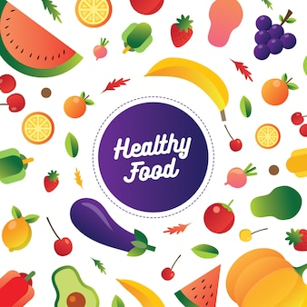 Coleção de frutas saudáveis e ilustração de alimentos para uma alimentação saudável.