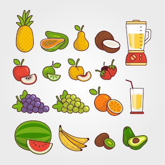 Coleção de frutas tropicais