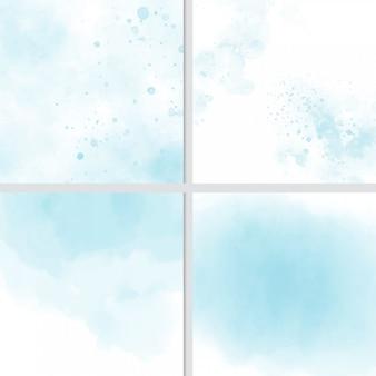 Coleção de fundo azul aquarela respingo