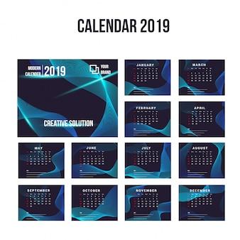 Coleção de fundo de calendário moderno de 2019