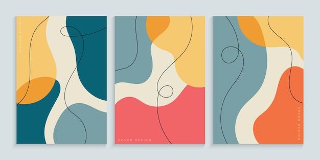Coleção de fundo de capa à mão livre com formas coloridas mínimas