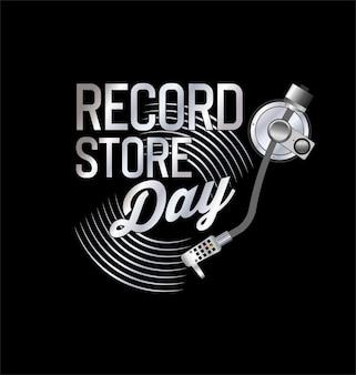 Coleção de fundo de dia de loja de discos de vinil retrô