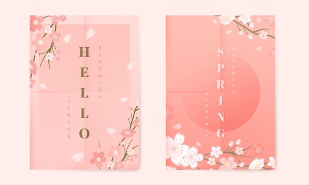 Coleção de fundo de flor de cerejeira