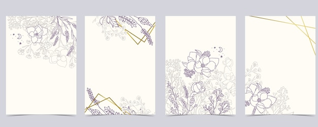 Coleção de fundo de flores com alfazema, magnólia.