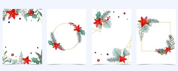 Coleção de fundo de natal com folhas de azevinho, flor, fita