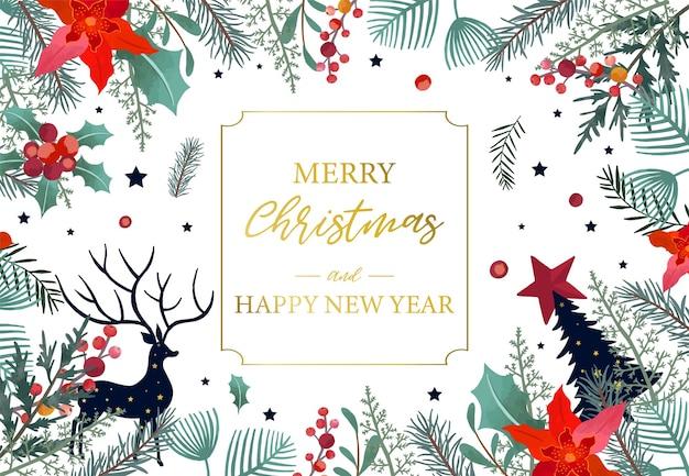 Coleção de fundo de natal com folhas de azevinho, flor, rena. ilustração em vetor editável para convite de ano novo, cartão postal e banner do site