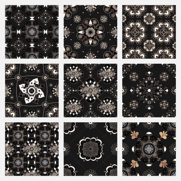 Coleção de fundo de padrão de telha preta mandala oriental