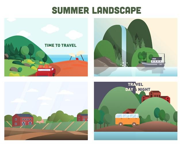 Coleção de fundo de paisagem de verão