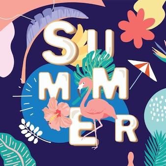 Coleção de fundo de verão com palmeira, coqueiro, mar, praia. olá, verão