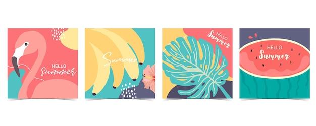 Coleção de fundo de verão cravejado de palmeira, melancia flamingo, banana. olá, verão