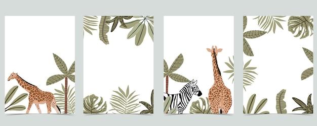 Coleção de fundo do safari com girafa, ilustração de zebra.vector para convite de aniversário, cartão postal