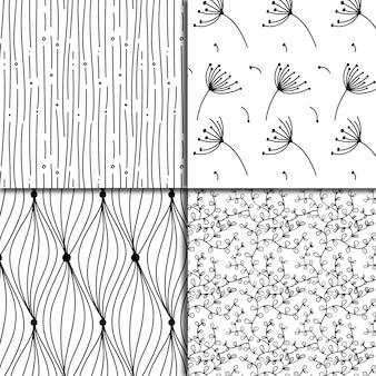 Coleção de fundo padrão padrão de folhas preto e branco