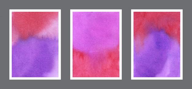 Coleção de fundo vermelho e violeta aquarela pintados à mão