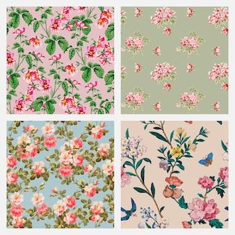 Coleção de fundo vintage floral colorido de vetor